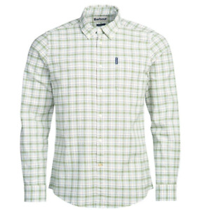 Tattersall 19 Long Sleeve Check Shirt Tailored Fit Brand New in Green/White