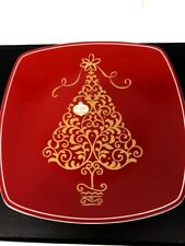 222 Fifth GOLDEN TREE RED Ornament Square Appetizer/Salad Plate 8 inches