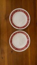 """2 Corelle Livingware BANDHANI 6 3/4"""" BREAD Dessert PLATES RED Bandana Paisley"""