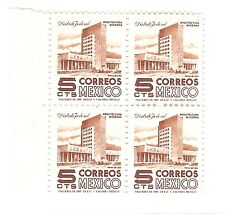 Mexico,Scott#875,5c,Block of 4,Type III E,Arquitectura y Arqueologia,MNH