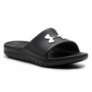 Under Armour UA Core PTH Slides Slippers 3021286 Sliders Beach Pool Shoe Black