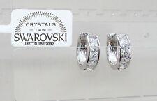 Orecchini da donna p. oro bianco 18K zirconi cristalli swarov veri SW8/8 bianchi