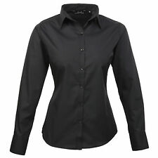Cotton Patternless Fitted Formal Tops & Shirts for Women