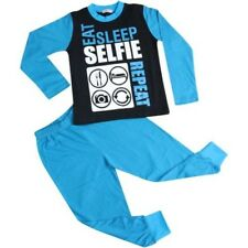 Niños Niña Eat Sleep Selfie Repetir Pijama Azul Ropa de Descanso 2-13 Años