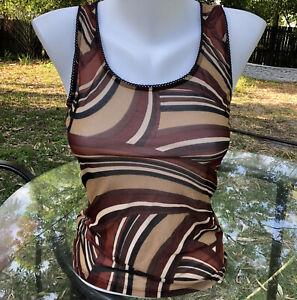 S Vintage Y2K 90s Brown Beige Mesh Swirl Tank Top Lace Edge Sheer Stretch Funky