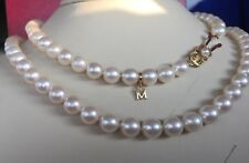 "$7650❤️Perfect Mikimoto 18K YG Certify A Grade Akoya ~8mm Pearl 24"" Necklace+Box"