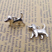 10pcs Charms Tiny Dog Pet 3D Tibetan Silver Bead Pendant DIY 15*15mm