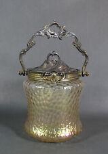 1880 Art Nouveau Victorian Iridescent Glass Veins Pattern Biscuit Jar Pewter lid