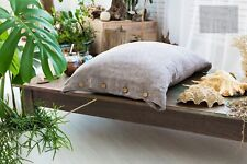 Linen pillowcase/Button Closure/Washed/Queen King Standard/Natural Brown Green
