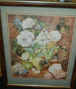 "19th/C  Still life Watercolour ""Summers Harvest"""
