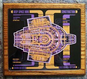 Orig STAR TREK DS9 Crew Gift Plaque DEFIANT Top Plan '97-'98 Season 6
