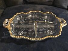 "CAMBRIDGE 12.5"" GOLD ENCRUSTED #3500/64 MINERVA 3-PART 4 TOED 2 HNDL RELISH TRAY"