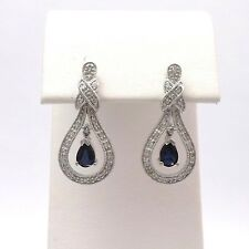 New 14k White Gold 1.3ctw Sapphire Pave' Diamond Dangle Post Stud Earrings