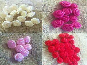 100 pcs colorful color  mini flower satin ribbon rose size 3 mm