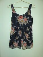Anthropologie Sunday in Brooklyn Women's Blue Floral Babydoll Tank Top Size XS