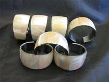 NAPKIN RINGS Silver & Shell Set of Seven (7) - Am stamp - Beautiful!