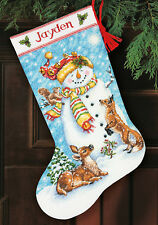 Cross Stitch Kit Dimensions Winter Friends Snowman Christmas Stocking #70-08963
