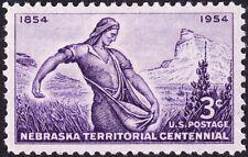 US - 1954 - 3 Cents Violet Nebraska Territorial Centennial Issue #1060 Mint F-VF