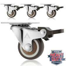 """Set of 4 Swivel Plate Casters with Brakes 1-1/4"""" Polyurethane Wheels Non Skid"""