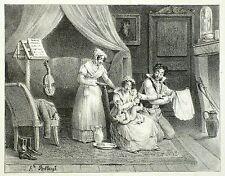 Matrimonio-giovane coppia quando si pannolini-essiccazione-le villain-LITOGRAFICO 1825