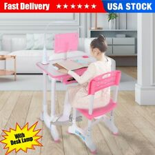 Kids Study Desk Chair Set Height Adjustable Children Table With Lamp Girl Pink