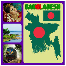 BANGLADESH MAP - SOUVENIR NOVELTY SQUARE FRIDGE MAGNET - SIGHTS / FLAGS / GIFTS
