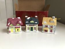 Vintage Christmas Village House Lot Of 3 - Bells - Decorations Baker Inn Grocery