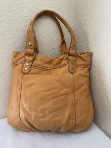 Lucky Brand Orange Leather Slouchy Boho Hobo Tote Handbag