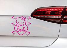 Baby on Board Hello Kitty Heckscheibe AUTO AUFKLEBER Sticker + Wunschnamen Kids