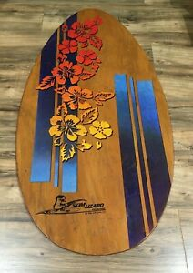 Vintage Skim Lizard Wood Surf Boogie Board Hawaii JGR Copa Rainbow Hibiscus