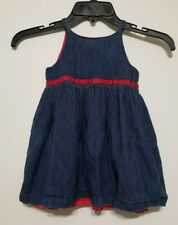 Baby Gap Toddler Denim Red Satin Dress 18 24 months