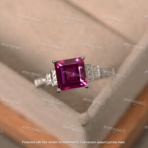 2.30Ct Princess Cut Red Ruby Solitaire Engagement Ring In 14K White Gold Finish