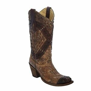CORRAL Women's Cognac Braided Straps and Studs Cowgirl Boot Snip Toe - A2990
