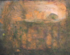 Vintage abstract landscape gouache/pastels painting