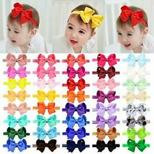 "40pcs Baby Girls Grosgrain Ribbon Hair Bows Headbands 4.5"" Elastic Hair Band"