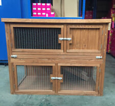 XL Double Rabbit Hutch Guinea Pig Cage 2 Tier Deluxe Garden Outdoor 2FT Deep