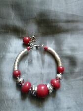 Moda Pulsera Rojo Y Plata