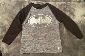 Boy's Black & Gray Batman Go-Dry Long Sleeve Shirt From Old Navy, Size XS (5)