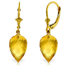 19 Carat 14K Solid Gold Pointy Briolette Drop Citrine Earrings