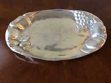 Vintage Pewter? Silver Toned Metal Fruit Platter Serving Tray Plate Dish