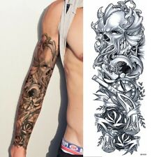 XXL Full Arm Temporäres Tattoo Skull Totenkopf Uhr Gothic Design Körperkunst