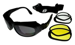 Birdz Falcon Interchangeable Motorcycle Sunglasses/Goggles 3 Lens Kit Black L