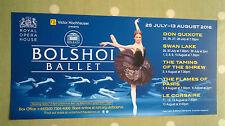Royal Opera House. Bolshoi Ballet Flyer. 2016.