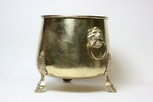 Antique Russian Imperial Hand Hammered Brass Cashepot Jardinier, Tula