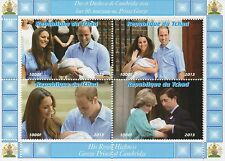 ROYAL BABY GEORGE KATE AND WILLIAM CHARLES AND DIANA MNH STAMP SHEETLET
