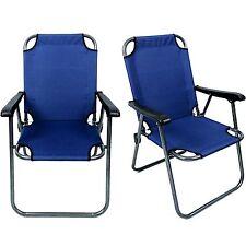 2 Blue Outdoor Patio Folding Beach Chair Campding Chair Arm Lightwaight Portable