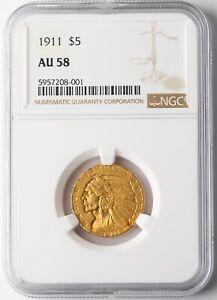 1911 $5 INDIAN HEAD HALF EAGLE GOLD COIN FIVE DOLLARS NGC AU58