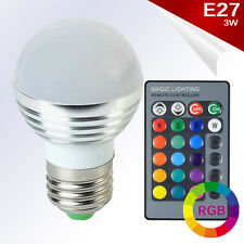 Bombilla LED E27 RGB 3W High Power 360º Blanco + Control Remoto AC85-265V