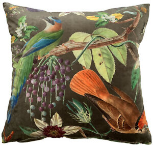Exotic Birds Toffee Italian Velvet Cushion Cover Botanical Floral Greenery Taupe
