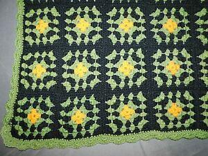 "Vintage Black Orange Green Crocheted Afghan Blanket Throw 48"" x 59"" RETRO Boho"